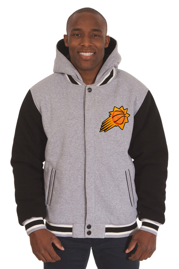 Phoenix Suns Two-Tone Reversible Fleece Hooded Jacket - Gray/Black - JH Design