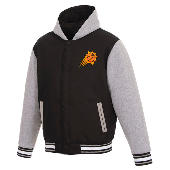 Phoenix Suns Two-Tone Reversible Fleece Hooded Jacket - Black/Grey - JH Design
