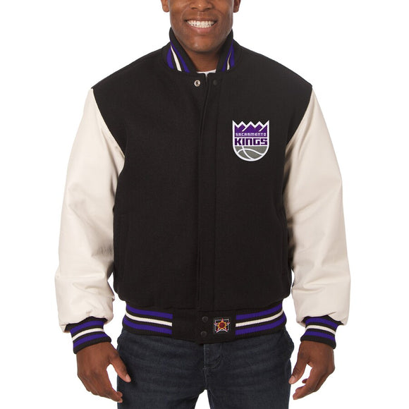 Sacramento Kings Domestic Two-Tone Wool and Leather Jacket-Black - JH Design