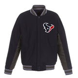 Houston Texans JH Design Wool Reversible Full-Snap Jacket – Navy - JH Design