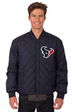 Houston Texans Wool & Leather Reversible Jacket w/ Embroidered Logos - Charcoal/Navy - JH Design
