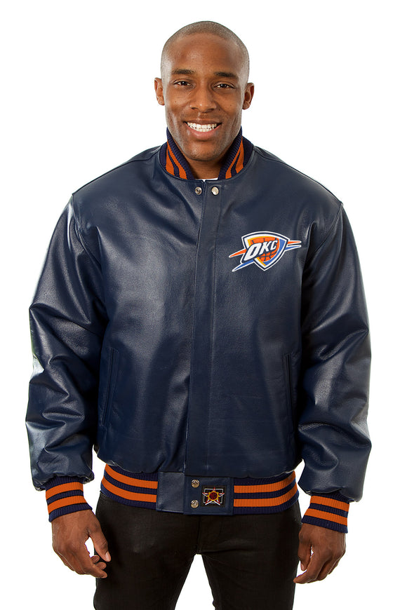 Oklahoma City Thunder Full Leather Jacket - Navy
