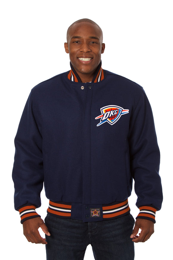 Oklahoma City Thunder Embroidered Wool Jacket - Navy - JH Design