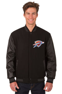Oklahoma City Thunder Wool & Leather Reversible Jacket w/ Embroidered Logos - Black