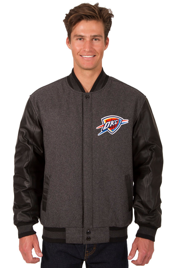 Oklahoma City Thunder Wool & Leather Reversible Jacket w/ Embroidered Logos - Charcoal/Black