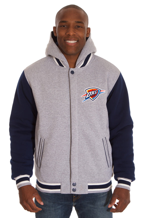 Oklahoma City Thunder Two-Tone Reversible Fleece Hooded Jacket - Gray/Navy