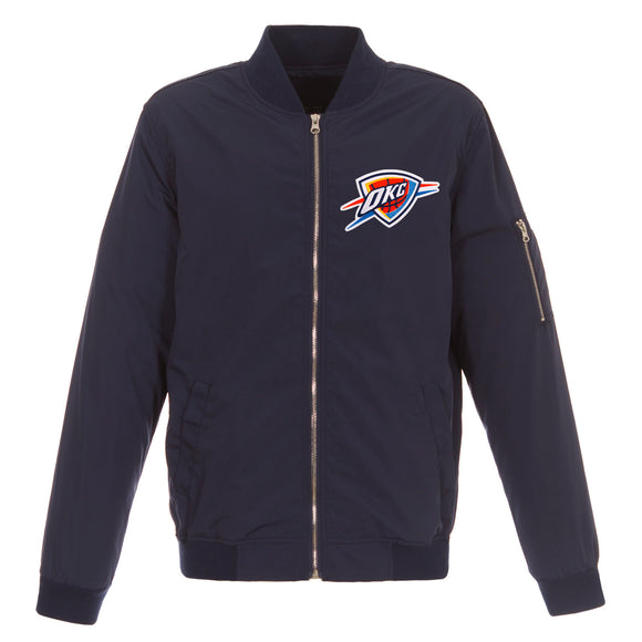Oklahoma City Thunder JH Design Lightweight Nylon Bomber Jacket – Navy