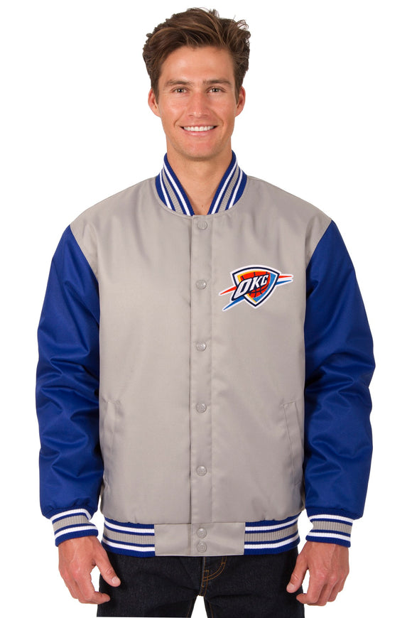 Oklahoma City Thunder Poly Twill Varsity Jacket - Gray/Royal