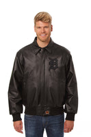 Detroit Tigers Full Leather Jacket - Black/Black