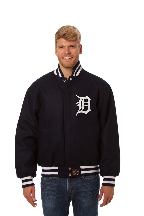Detroit Tigers Wool Jacket w/ Handcrafted Leather Logos - Navy