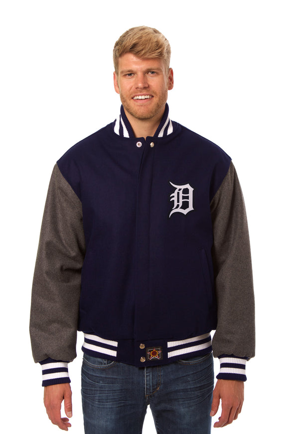 Detroit Tigers Embroidered Wool Jacket - Navy/Charcoal - JH Design