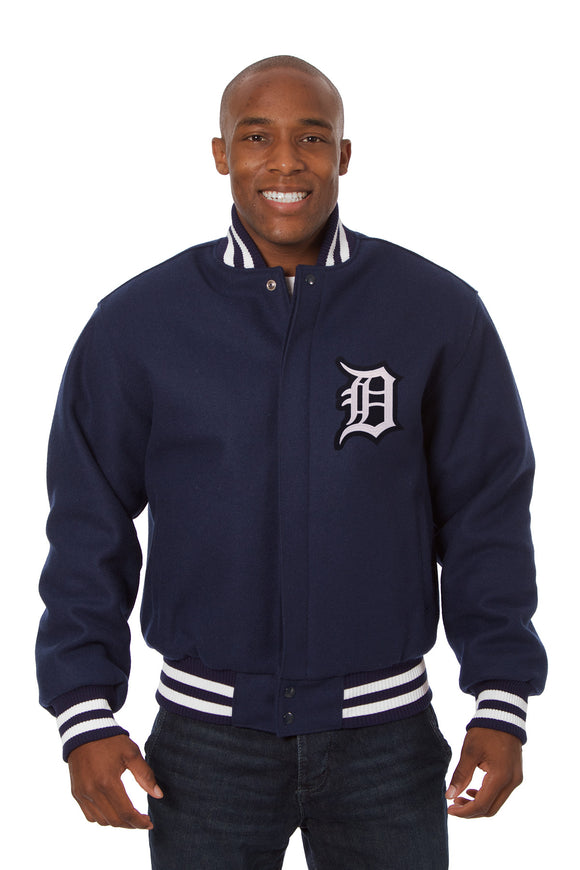 Detroit Tigers Embroidered Wool Jacket - Navy - JH Design