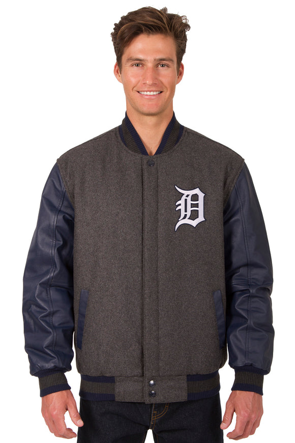 Detroit Tigers Wool & Leather Reversible Jacket w/ Embroidered Logos - Charcoal/Navy