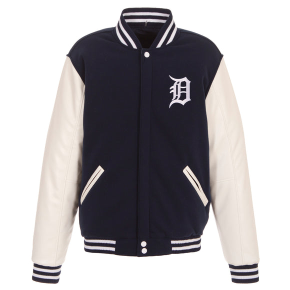 Detroit Tigers - JH Design Reversible Fleece Jacket with Faux Leather Sleeves - Navy/White - JH Design