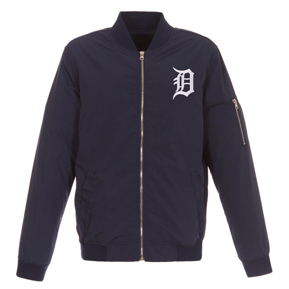 Detroit Tigers JH Design Lightweight Nylon Bomber Jacket – Navy