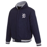 Detroit Tigers Two-Tone Reversible Fleece Hooded Jacket - Navy/Grey - JH Design