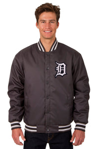 Detroit Tigers Poly Twill Varsity Jacket - Charcoal - JH Design