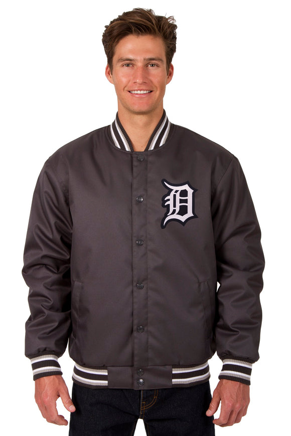Detroit Tigers Poly Twill Varsity Jacket - Charcoal