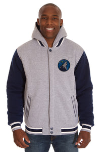 Minnesota Timberwolves Two-Tone Reversible Fleece Hooded Jacket - Gray/Navy - JH Design