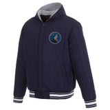 Minnesota Timberwolves Two-Tone Reversible Fleece Hooded Jacket - Navy/Grey - JH Design