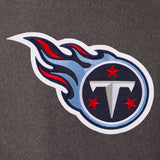 Tennessee Titans Wool & Leather Reversible Jacket w/ Embroidered Logos - Charcoal/Navy