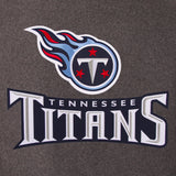 Tennessee Titans Wool & Leather Reversible Jacket w/ Embroidered Logos - Charcoal/Navy - JH Design
