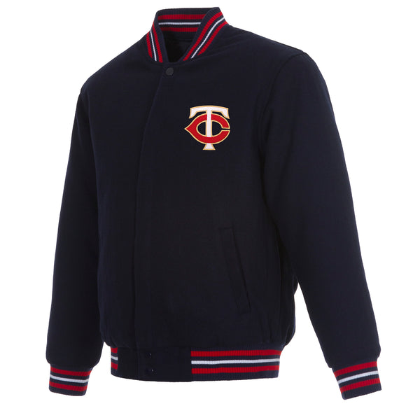 Minnesota Twins Reversible Wool Jacket - Navy - JH Design