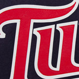 Minnesota Twins Two-Tone Wool Jacket w/ Handcrafted Leather Logos - Navy/Red - JH Design
