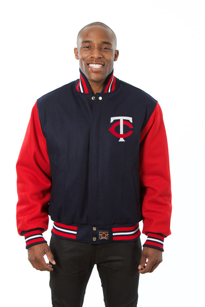 Minnesota Twins Two-Tone Wool Jacket w/ Handcrafted Leather Logos - Navy/Red