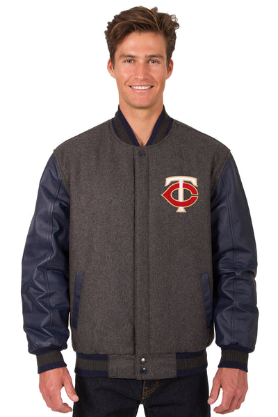 Minnesota Twins Wool & Leather Reversible Jacket w/ Embroidered Logos - Charcoal/Navy