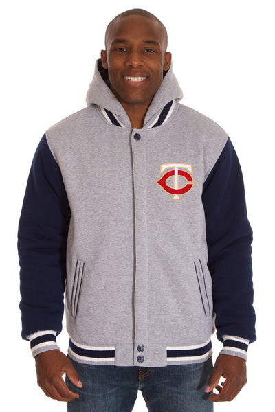 Minnesota Twins Two-Tone Reversible Fleece Hooded Jacket - Gray/Navy