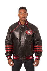San Francisco 49ers JH Design All Leather Jacket - Black/Red - JH Design