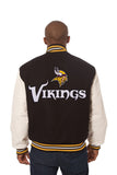 Minnesota Vikings Two-Tone Wool and Leather Jacket - Black/White