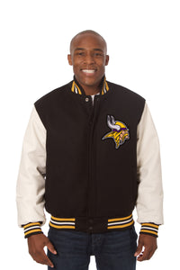 Minnesota Vikings Two-Tone Wool and Leather Jacket - Black/White - JH Design