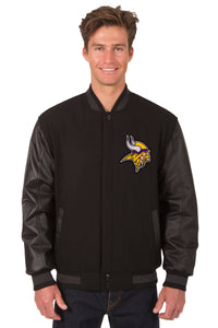 Minnesota Vikings Wool & Leather Reversible Jacket w/ Embroidered Logos - Black