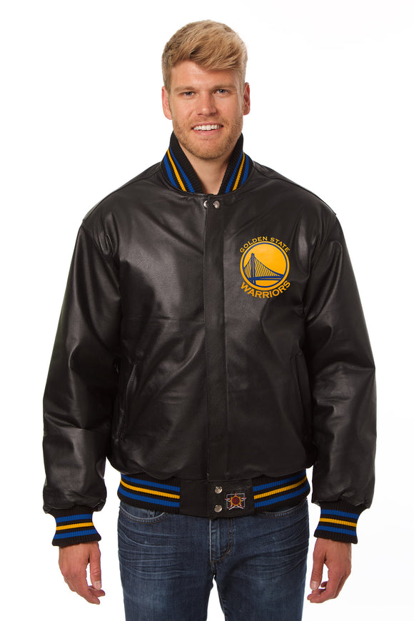 Golden State Warriors Full Leather Jacket - Black