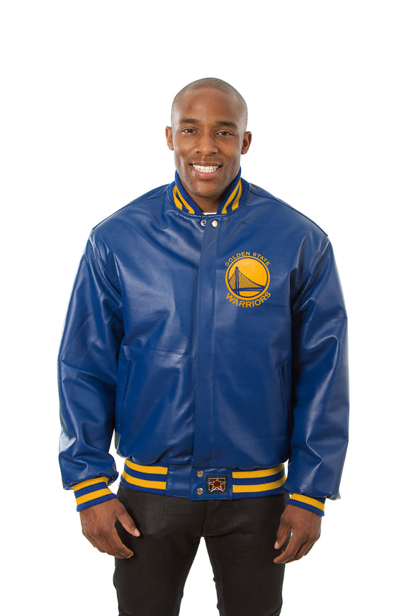 Golden State Warriors Full Leather Jacket - Royal