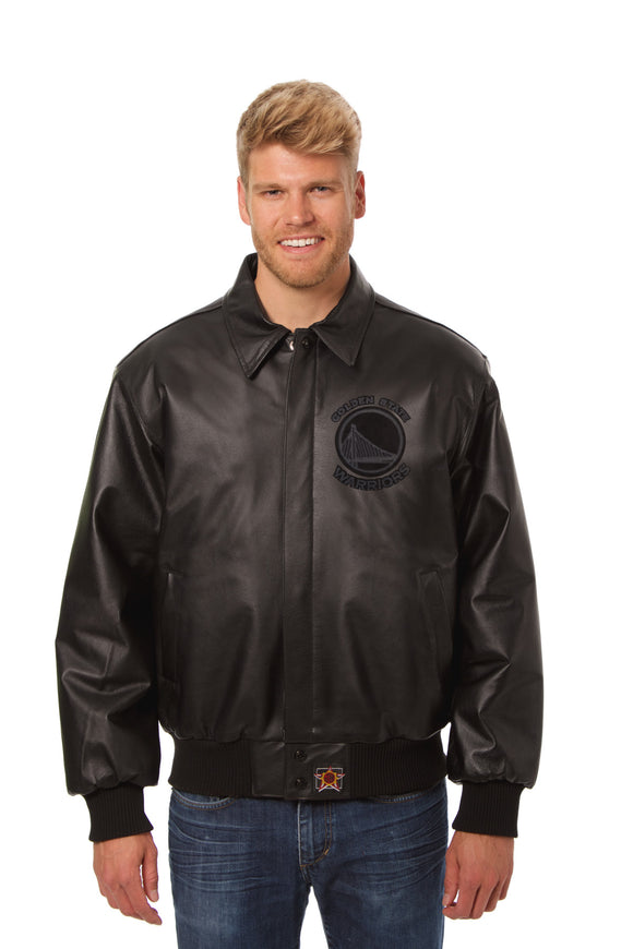 Golden State Warriors Full Leather Jacket - Black/Black