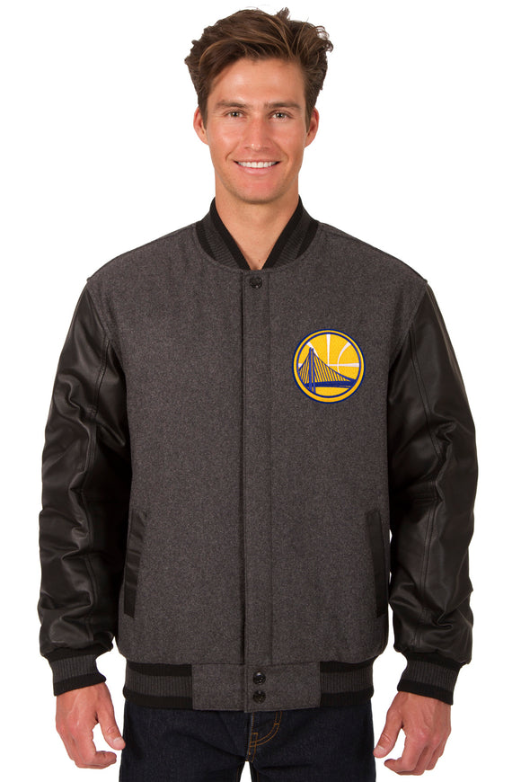 Golden State Warriors Wool & Leather Reversible Jacket w/ Embroidered Logos - Charcoal/Black - JH Design