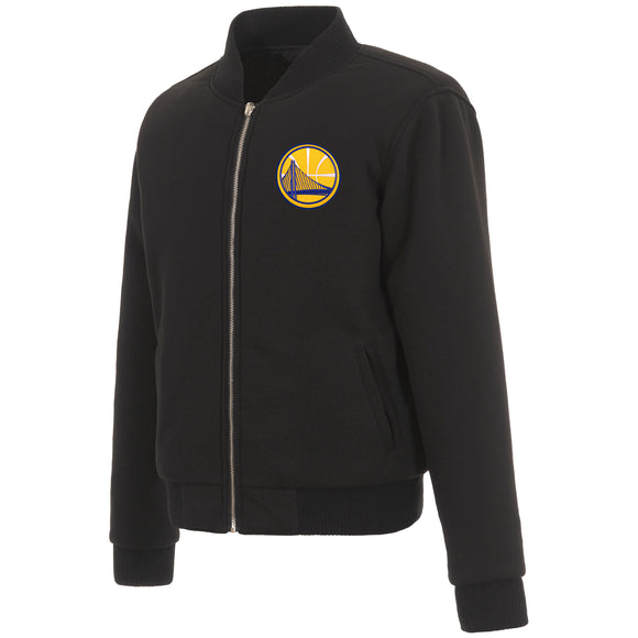 Golden State Warriors JH Design Reversible Women Fleece Jacket - Black - JH Design