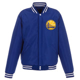 Golden State Warriors - JH Design Reversible Fleece Jacket with Faux Leather Sleeves - Royal/White - JH Design