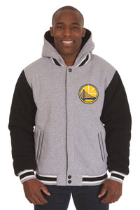 Golden State Warriors Two-Tone Reversible Fleece Hooded Jacket - Gray/Black - JH Design
