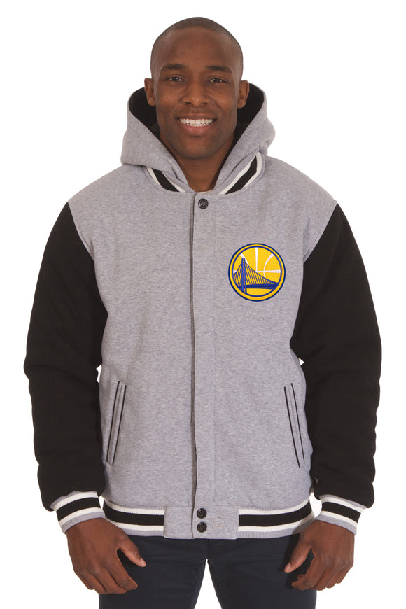 Golden State Warriors Two-Tone Reversible Fleece Hooded Jacket - Gray/Black - J.H. Sports Jackets