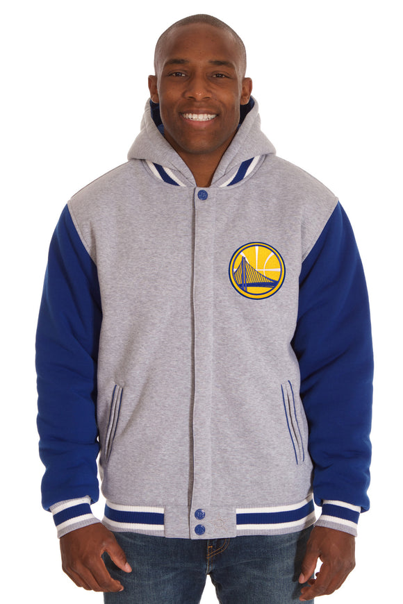 Golden State Warriors Two-Tone Reversible Fleece Hooded Jacket - Gray/Royal