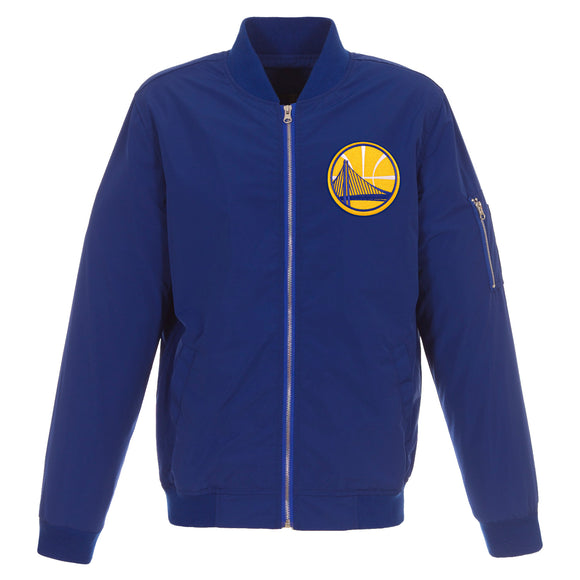 Golden State Warriors JH Design Lightweight Nylon Bomber Jacket – Royal