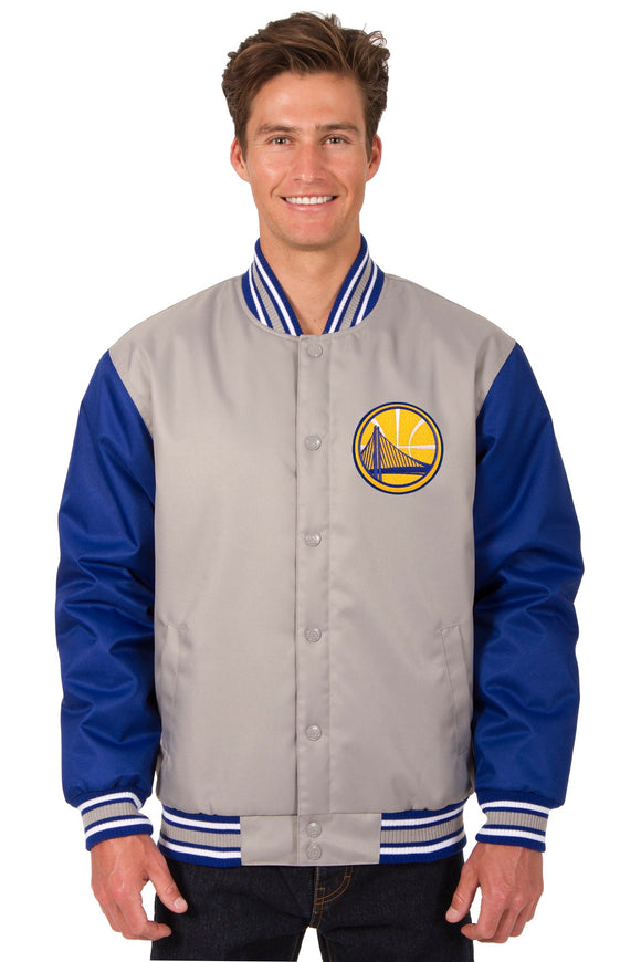 Golden State Warriors Poly Twill Varsity Jacket - Gray/Royal