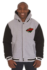 Minnesota Wild Two-Tone Reversible Fleece Hooded Jacket - Gray/Black - J.H. Sports Jackets
