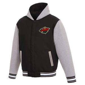 Minnesota Wild Two-Tone Reversible Fleece Hooded Jacket - Black/Grey - JH Design