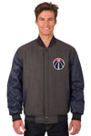 Washington Wizards Wool & Leather Reversible Jacket w/ Embroidered Logos - Charcoal/Navy