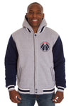 Washington Wizards Two-Tone Reversible Fleece Hooded Jacket - Gray/Navy